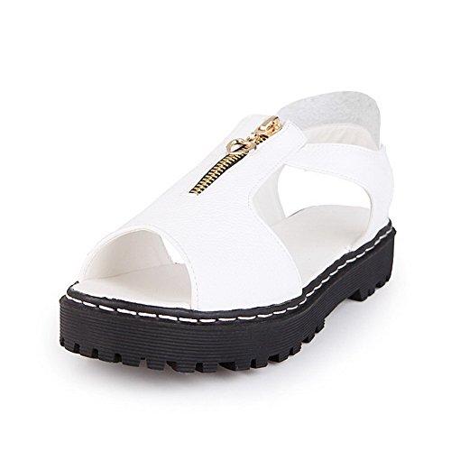 AllhqFashion Damen Weiches Material Offener Zehe Rein Niedriger Absatz Sandalen Weiß