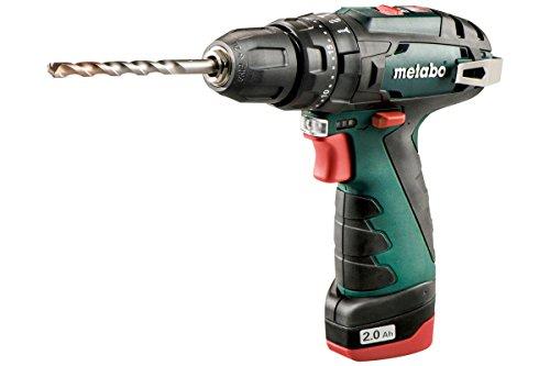Metabo 600385500 Akku Schlagbohrmaschine / Schlagbohrschrauber POWERMAXX SB BASIC | + Schnellspannfutter; Gürtelhaken; 2 Akkus; Ladegerät; Koffer(LI-Ion 10,8V 2Ah / 1,12 kg / bis zu 34 Nm)