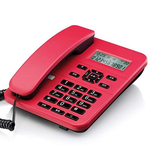 Unbekannt Festnetz Festnetztelefon for das Büro Privatanwender Festbatterie Kostenlos Anrufer-ID mit Zwei Schnittstellen (Color : Red) -