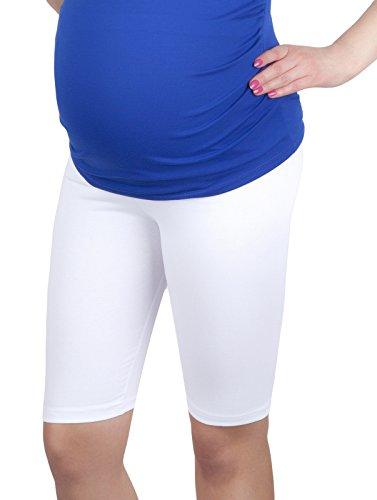 Mija - Komfortable Kurze Umstandsleggings für Schwangere Shorts 1/2 Leggings 4008 (XXL, Weiß)