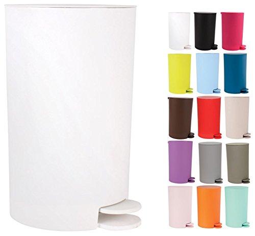 MSV Kosmetikeimer Osaki Mülleimer Treteimer Abfalleimer - 3 Liter - mit herausnehmbaren Inneneimer - Weiß