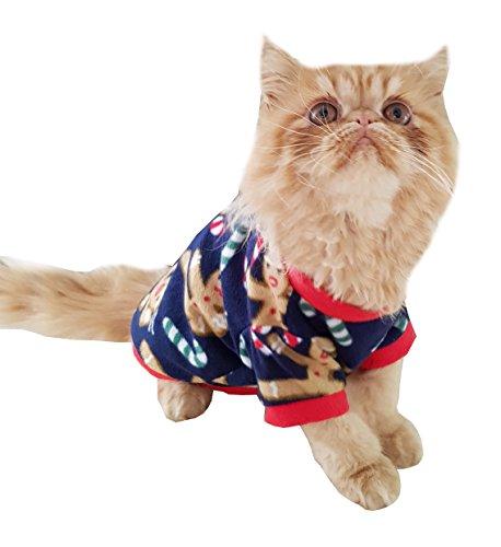 (Festlicher Hundepullover, Katzenpullover, marineblau & rot, mit Motiven Lebkuchenmann  und Zuckerstab)