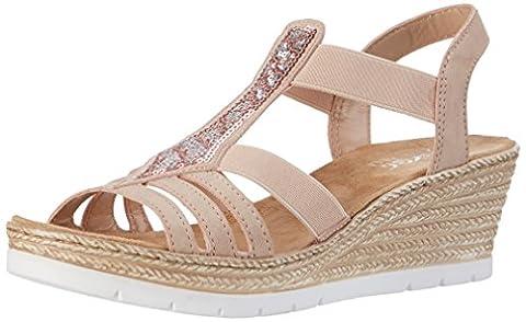 Rieker Damen 61913 Offene Sandalen mit Keilabsatz, Mehrfarbig (Altrosa / 31), 41 EU