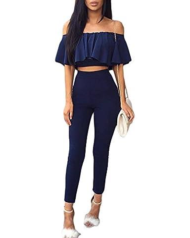 Combinaisons Femmes Rompers Partie de soirée Jumpsuit Sans Bretelles T-shirt + Pantalons Longs Ensemble 2 Pièces Bleu foncé L