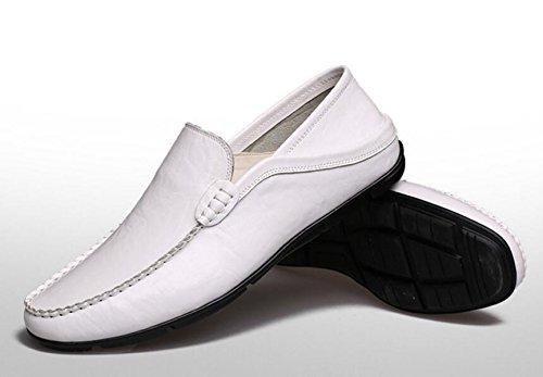 GRRONG Herren Lederschuhe Echtes Leder-beiläufige Schwarz Braun Weiß White