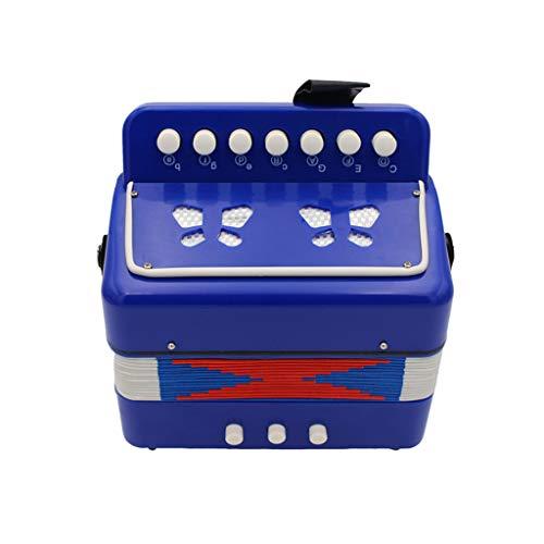 JHKJ Kinder 7-Taste 2 Bass Mini Klein Akkordeon Educational Musikinstrument Spielzeug für Kinder, Blau