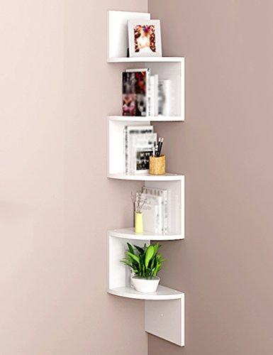 Bücherregale WSSF- Curved 123cm Wandbehang Schwimmende 5-Tier-Dreieck Ecke Partition CD DVD-Speichereinheit Display-Ständer Farbe Optional (Farbe : Weiß) -