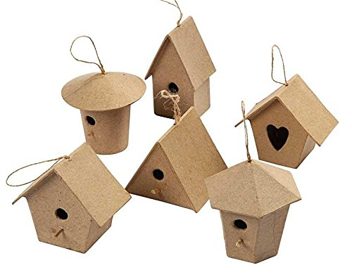 6-small-hanging-paper-mache-birdhouse-or-bird-box-ornaments