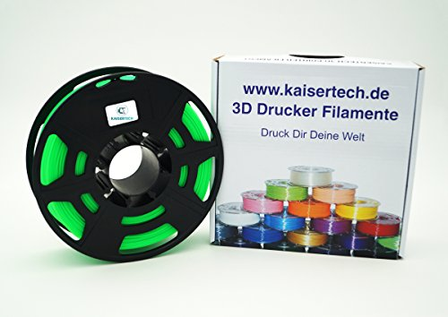Kaisertech Filament für 3D Drucker 1kg PLA 1.75mm Grün - Premium Qualität Spule Rolle