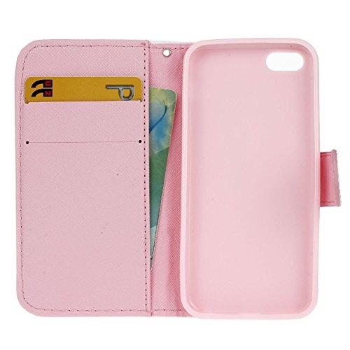 MOONCASE iPhone 5C Coque, Modèle Case Portefeuille [Porte-cartes] Housse en Cuir Etui à rabat avec Béquille pour iPhone 5C -S01 S01