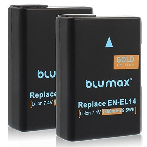 2x Gold Edition Blumax Batterie pour Nikon EN-EL14 / EN-EL14a 1300mAh Batterie de remplacement pour Nikon D3100 D3200 D3300 D3400 D5100 D5200 D5300 D5500 D7200 et beaucoup plus
