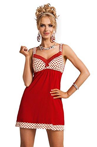 DONNA schickes bequemes Nachthemd mit Herzchen, in hübscher Geschenkbox, rot, Gr. L...