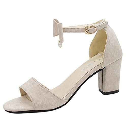 Fannyfuny Sandalen Damen High Heels Pumps mit schnallen Frauen Casual Elegante Bequeme Sandalen Party Schuhe Frau Geschenk Beige, Schwarz 35-40