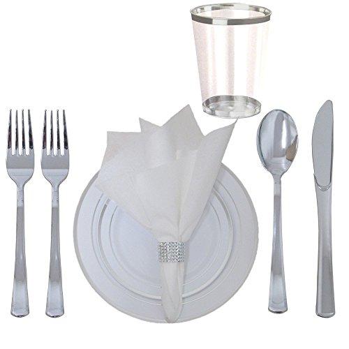 360Stück Einweg Kunststoff Hochzeit Geschirr Besteck Set. Silber mit Rand Dinner & Dessertteller, silber Besteck Set, Silber mit Rand, Leinen-Haptik Servietten mit Strass Serviette Ringe. (Kunststoff-geschirr Für Hochzeiten)