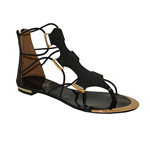 NEW Womens Mesdames Plat Style Gladiateur Sangle Plat Sandales Noir - noir