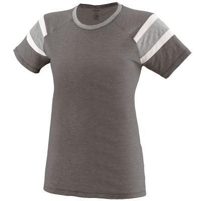 Augusta Sportswear Girls Fanatic Tee L Slate/Athletic Heather/White -