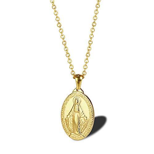 Colgante de medalla milagrosa ovalada de acero inoxidable Santa Maria oval para mujer, para hombres, mujeres