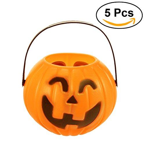 �igkeit Eimer Halloween Süßigkeiten Halter Laterne Süßigkeiten Eimer Trick-or-Treat Zubehör Größe M, Packung mit 5 (zufällige Art) (Halloween Candy Eimer)