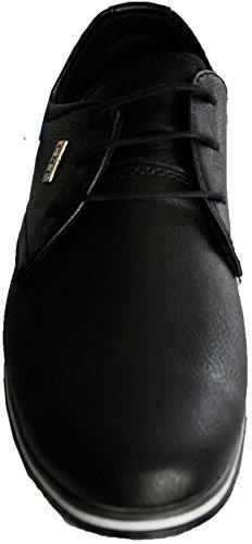 Derbies homme à lacets - chaussures casual à semelles blanches - derby fashion 211 Noir lisse