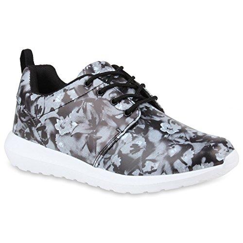 Herren Sportschuhe Muster | Laufschuhe Übergrößen | Sneakers Profilsohle | Blumen Runners Schwarz Muster