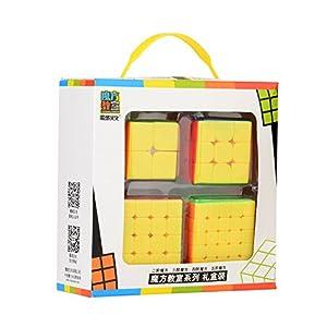 ROXENDA Cubos de Velocidad, Speed Cube Set de Moyu 2×2 3×3 4×4 5×5 Stickerless Cube, con Caja de Regalo y Tutorial…