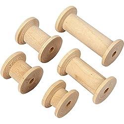 bobina de madera, dia: 24 mm, l. 15+20+27+38+50 mm, abedul, 10ud