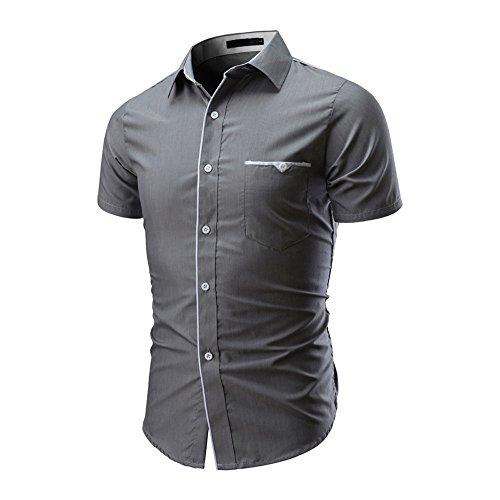 Kurzarmhemd Sannysis Herren Slim Fit Hemden Freizeit Businesshemd Herrenhemd Mode Einfarbig Männliches Beiläufiges Kurzarmshirt Poloshirt