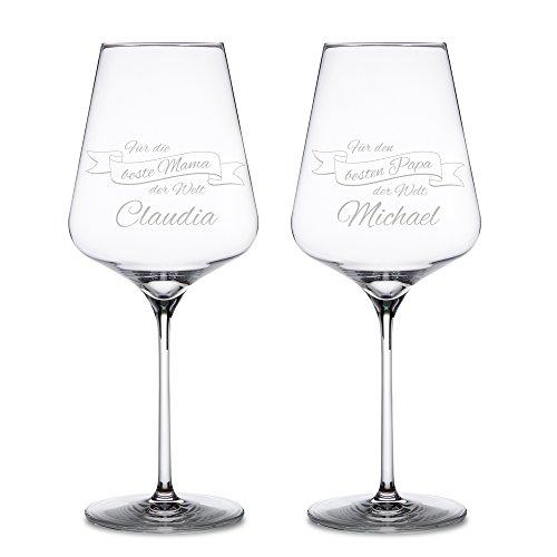 Rotweingläser – 2er Set Weingläser mit Gravur für Mama und Papa – Personalisiert mit [NAMEN[ –...