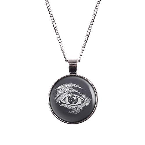 Mylery Hals-Kette mit Motiv Auge Illuminati Weiß Schwarz silber 28mm