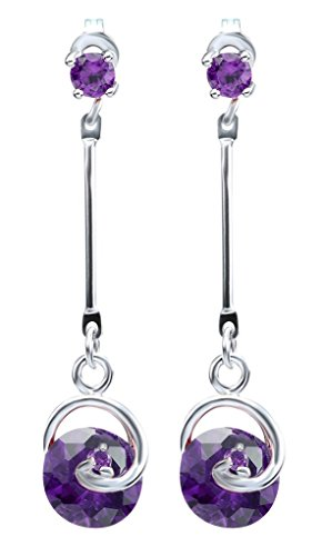 Bigood Charm Moon's Heart Crystal Plated 925 Sterling Silver Ear Studs #Purple