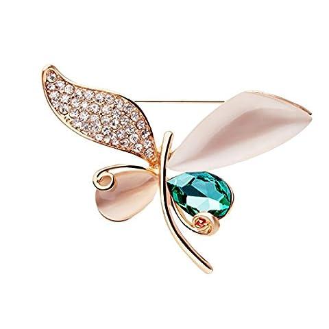 Frau Eine Legierung Brosche Kristall Schmetterling Katzenauge Stein Exquisite Hochwertige