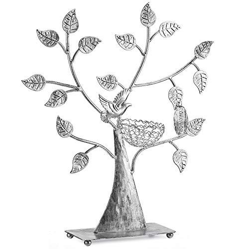 Songmics espositore da tavolo a forma di albero porta orecchini braccialetti collane anelli bigiotteria colore di argento jds051