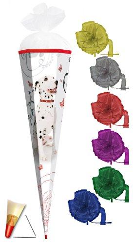 Unbekannt Schultüte - Dalmatiner 22 cm - incl. Schleife mit Tüllabschluß - Zuckertüte Roth Hund Hunde Welpen Tier Tiere Punkte -
