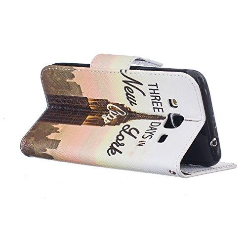 Cozy Hut Schutzhülle / Cover / Hülle / Handyhülle / Etui für Samsung Galaxy J3 Bunt Muster Design Folio PU Leder Tasche Case Cover im Bookstyle mit Standfunktion Kredit Kartenfächer mit Weich TPU Inne Sendemast