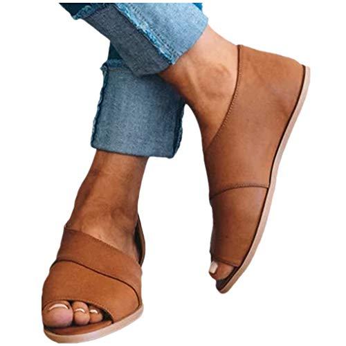 Übergroßer Sandalen für Damen/Dorical Frauen Sommer Retro-Peep-Toe-Sandalen mit seitlicher Abdeckung Damenschuhe Mode einfache PU-Leder Schuhe Rutschfest 35-43 EU Ausverkauf Beige Pumps Khaki