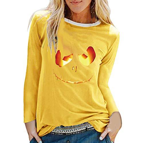 Berimaterry Langarmshirt Damen Halloween Gedruckt Rundhals Shirts Große Größen Bluse Frauen Lose Pullover Top Festlich Oberteile mit Langen Ärmel