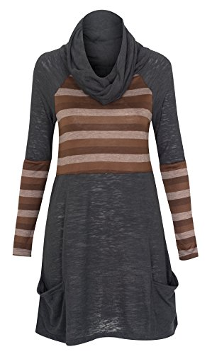 Hoody Robe manches longues pour femme segment Tunique tube lâche Top Chocolate Brun