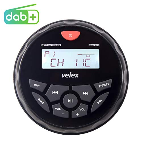 Wasserdicht Bluetooth Marine Stereo-Empfänger mit MP3 Player am DAB+/AM/FM Radio und USB für Streaming Musik auf Booten Golf Carts ATV UTV und Spa Hot Tubs (DAB+)