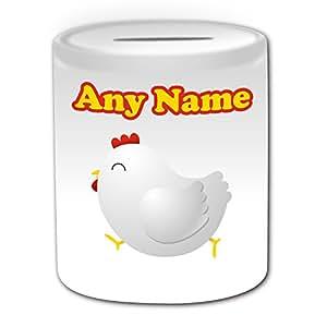 Cadeau personnalisé–Tirelire poulet (Design Animal Thème, blanc)–N'importe Quel Nom/Message sur votre unique–Poussin