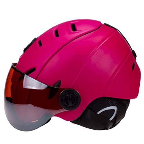 FERFERFERWON Snowboardhelm Neue Mann/Frau/Kinder Ski Helm/Brille Maske Winter Schnee Warm Snowboard Helm Moto Skateboard Schneemobil Ski/Schlitten Sport Sicherheit (Farbe : Pink, Größe : Medium) -