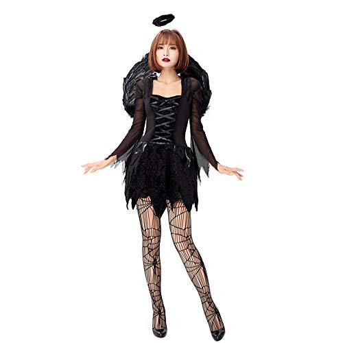 CAGYMJ Kleidungsdamenrock Flügel,Festival Gotische Cosplay Retro Brautuniform Schwarzer Engel Vampir,Halloween Kostümparty Maskerade,XL (Gefallener Engel Kostüm Männer)