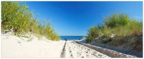 Wallario Acrylglasbild XXL Auf dem Sandweg zum Strand - Blauer Himmel über dem Meer - 80 x 200 cm in Premium-Qualität: Brillante Farben, freischwebende Optik