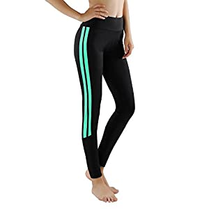 GoVIA Leggings Damen Laufhose Luftdurchlässige Trainingshose Sporthose Yogahose Fitness Yoga High Waist Lang Streifen 4138