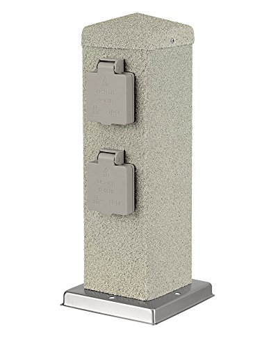 MD-DEAL 1er Set 4-fach Gartensteckdose Steinoptik eckig Außensteckdose Steckdose Verteiler IP44 300mm (eckig Stein)