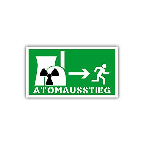 Aufkleber / Sticker - Atomausstieg Atomenergie Atom Atomar Nuklear Notausgang Schild Emblem Kennzeichnung Fun Spaß Humor 9x5cm #A1670