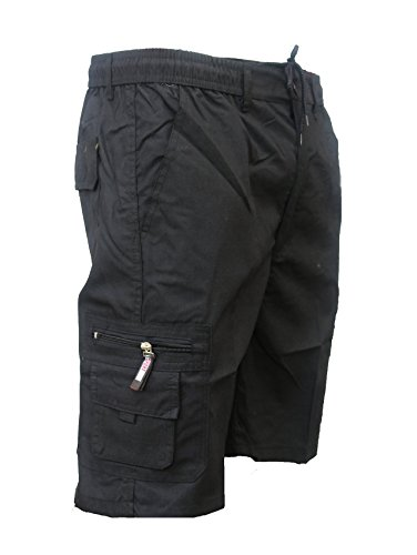 Mens Plain Summer Shorts Pure Cotton Cargo Combat Styles Sizes M L XL XXL New (XXlarge, Black)