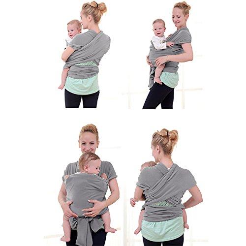 Babytragetuch Neugeborene Elastisches Tragetuch Baby Ring Sling Baby Wrap Sling für Neugeborene und Kleinkinder 100% Baumwolle Ohne Künstliches Elastan Von Future Founder (Grau) - 4