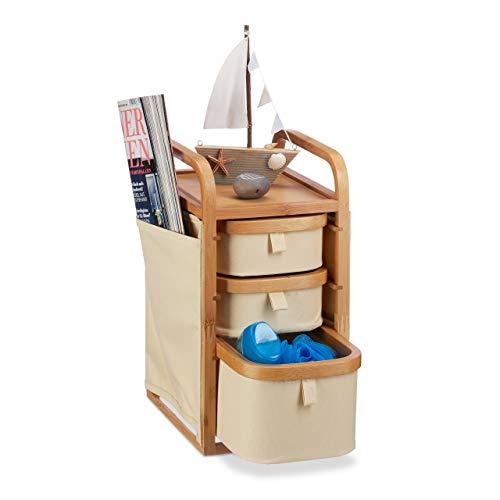 Relaxdays Mini Kommode Bambus, 4 Fächer, kleines Badregal, Stoff, Kosmetikorganizer Landhaus, HBT 34 x 19 x 24 cm, Natur, Standard -