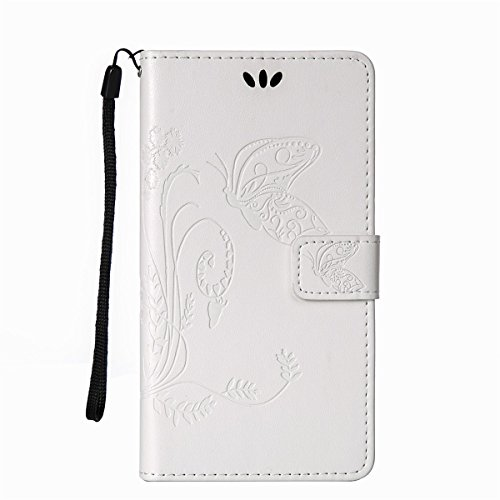 iPhone 6 Hülle Case,iPhone 6S Hülle Case,Gift_Source [Card Slot] [Kickstand Feature] Magnetic Closure PU Leder Blume Schmetterling Embossed Brieftasche Hülle Case Folio Flip Hülle Case mit Strap für i E01-10-Weiß