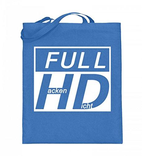 Hochwertiger Jutebeutel (mit langen Henkeln) - Full HD - Hacke Dicht Blau